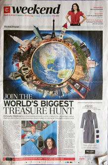 Front page of Telegraph Weekend showing an llustration by Jon Lucas for The Great Global Treasure Hunt